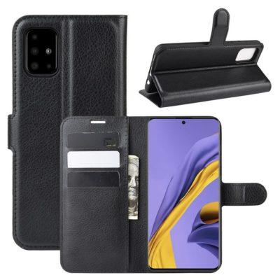 Samsung Galaxy A51 Kotelo PU-Nahka Musta