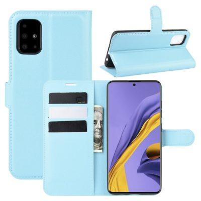 Samsung Galaxy A51 Kotelo PU-Nahka Vaaleansininen