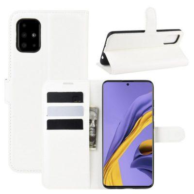 Samsung Galaxy A51 Kotelo PU-Nahka Valkoinen