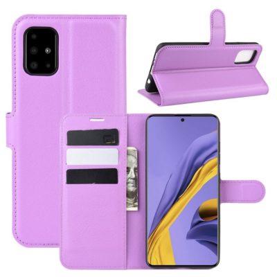 Samsung Galaxy A51 Kotelo PU-Nahka Violetti