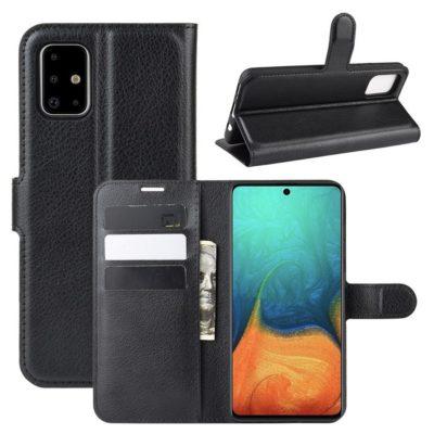 Samsung Galaxy A71 Suojakotelo PU-Nahka Musta