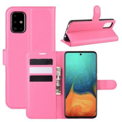 Samsung Galaxy A71 Suojakotelo PU-Nahka Pinkki