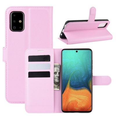Samsung Galaxy A71 Suojakotelo PU-Nahka Vaaleanpunainen