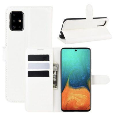 Samsung Galaxy A71 Suojakotelo PU-Nahka Valkoinen