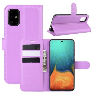 Samsung Galaxy A71 Suojakotelo PU-Nahka Violetti