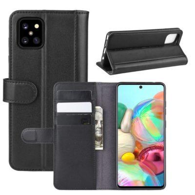 Samsung Galaxy Note 10 Lite Kotelo Musta Nahka