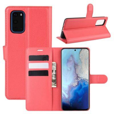 Samsung Galaxy S20 5G Kotelo PU-Nahka Punainen