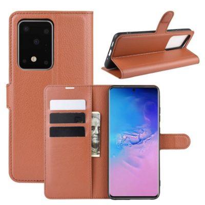 Samsung Galaxy S20 Ultra 5G Kotelo PU-Nahka Ruskea