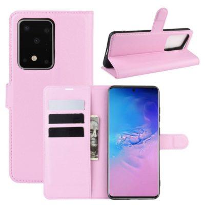 Samsung Galaxy S20 Ultra 5G Kotelo PU-Nahka Vaaleanpunainen