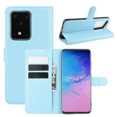 Samsung Galaxy S20 Ultra 5G Kotelo PU-Nahka Vaaleansininen