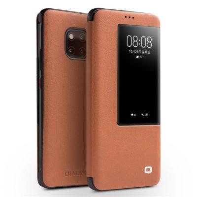 Huawei Mate 20 Pro Nahkakotelo Qialino Ruskea