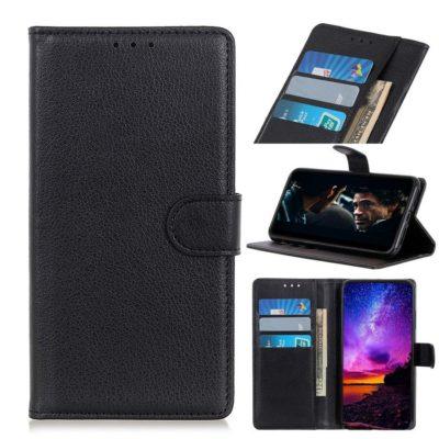 Huawei P40 Lite E Kotelo PU-Nahka Musta