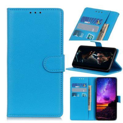 Huawei P40 Lite E Kotelo PU-Nahka Sininen