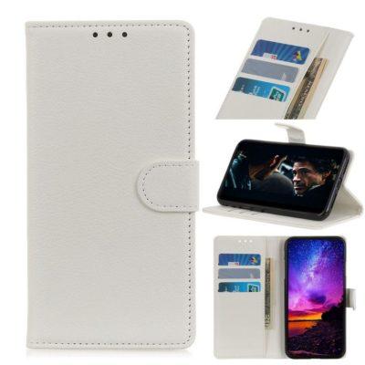 Huawei P40 Lite E Kotelo PU-Nahka Valkoinen