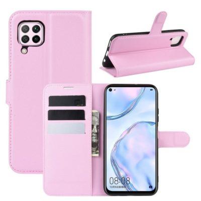 Huawei P40 Lite Suojakotelo Vaaleanpunainen Lompakko