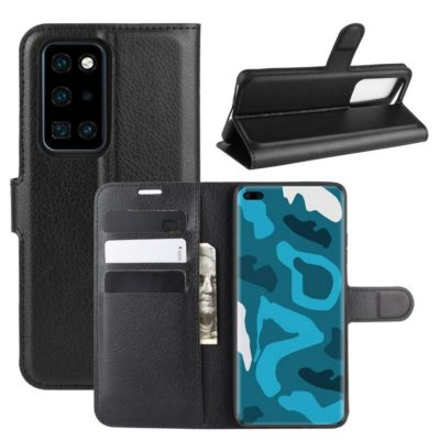 Huawei P40 Pro Suojakotelo PU-Nahka Musta