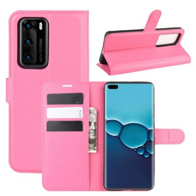 Huawei P40 Suojakotelo PU-Nahka Pinkki