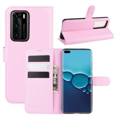 Huawei P40 Suojakotelo PU-Nahka Vaaleanpunainen