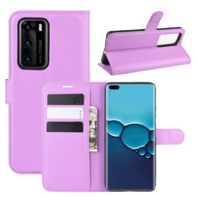Huawei P40 Suojakotelo PU-Nahka Violetti