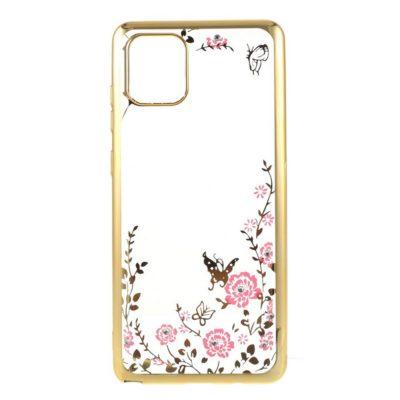 Samsung Galaxy Note 10 Lite Kukka Kuori Läpinäkyvä Kulta
