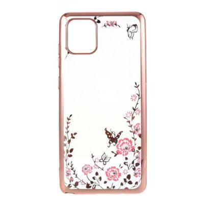 Samsung Galaxy Note 10 Lite Kukka Kuori Läpinäkyvä Ruusukulta