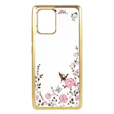 Samsung Galaxy S10 Lite Kukka Kuori Läpinäkyvä Kulta
