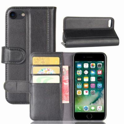 Apple iPhone 7 / 8 / SE (2020) Nahkakotelo Musta