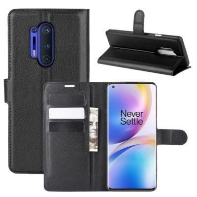 OnePlus 8 Pro Kotelo PU-Nahka Musta