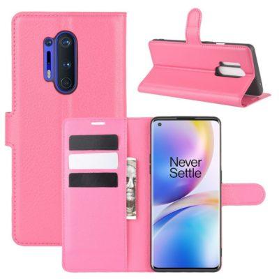 OnePlus 8 Pro Kotelo PU-Nahka Pinkki