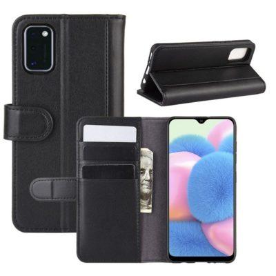 Samsung Galaxy A41 Kotelo Musta Nahka