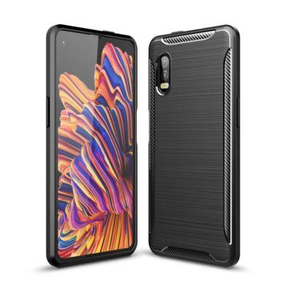 Samsung Galaxy Xcover Pro Suojakuori Hiilikuitu Musta
