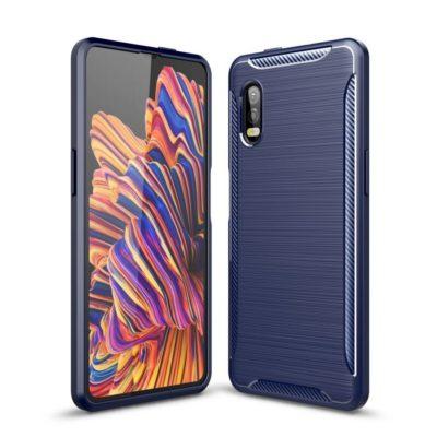 Samsung Galaxy Xcover Pro Suojakuori Hiilikuitu Sininen