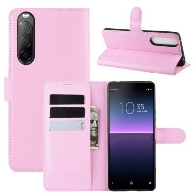 Sony Xperia 10 II Kotelo PU-Nahka Vaaleanpunainen