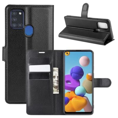 Samsung Galaxy A21s Kotelo PU-Nahka Musta