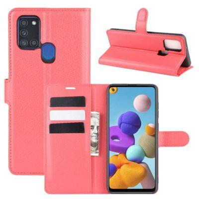 Samsung Galaxy A21s Kotelo PU-Nahka Punainen
