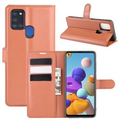 Samsung Galaxy A21s Kotelo PU-Nahka Ruskea