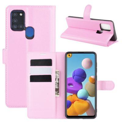 Samsung Galaxy A21s Kotelo PU-Nahka Vaaleanpunainen