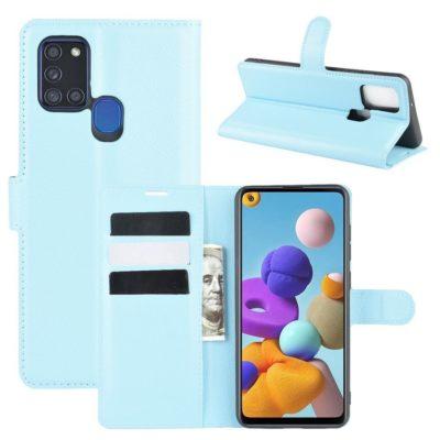 Samsung Galaxy A21s Kotelo PU-Nahka Vaaleansininen