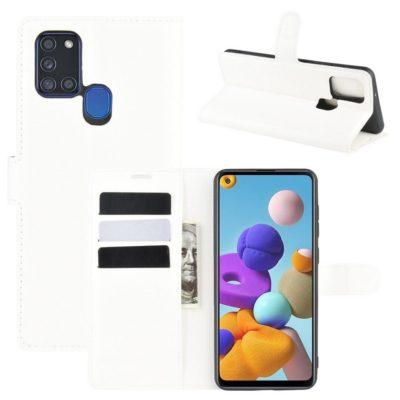 Samsung Galaxy A21s Kotelo PU-Nahka Valkoinen