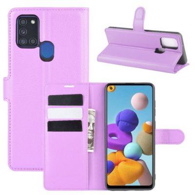Samsung Galaxy A21s Kotelo PU-Nahka Violetti