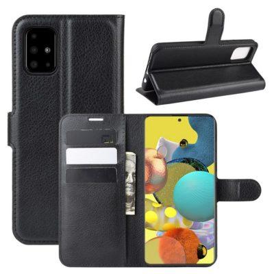 Samsung Galaxy A51 5G Kotelo PU-Nahka Musta