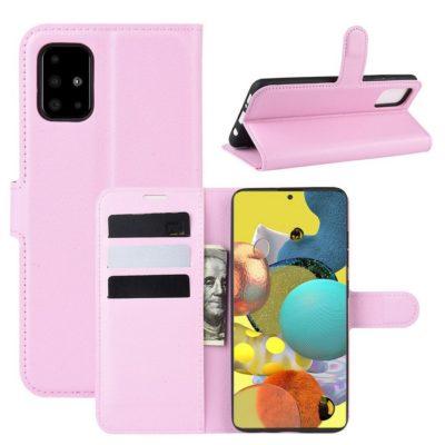 Samsung Galaxy A51 5G Kotelo PU-Nahka Vaaleanpunainen