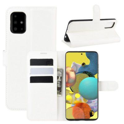 Samsung Galaxy A51 5G Kotelo PU-Nahka Valkoinen