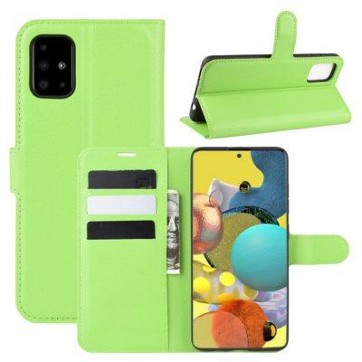 Samsung Galaxy A51 5G Kotelo PU-Nahka Vihreä