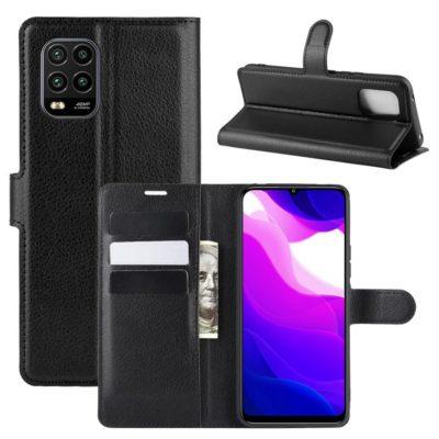 Xiaomi Mi 10 Lite 5G Kotelo PU-Nahka Musta