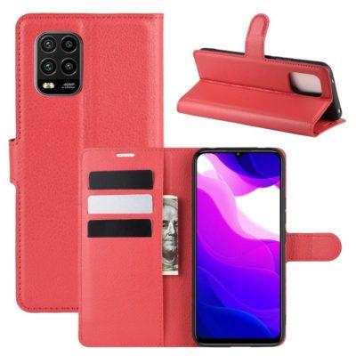 Xiaomi Mi 10 Lite 5G Kotelo PU-Nahka Punainen