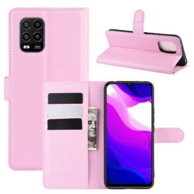 Xiaomi Mi 10 Lite 5G Kotelo PU-Nahka Vaaleanpunainen