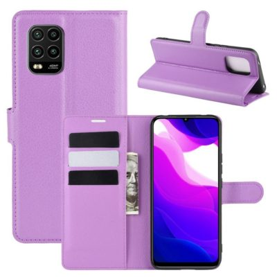 Xiaomi Mi 10 Lite 5G Kotelo PU-Nahka Violetti