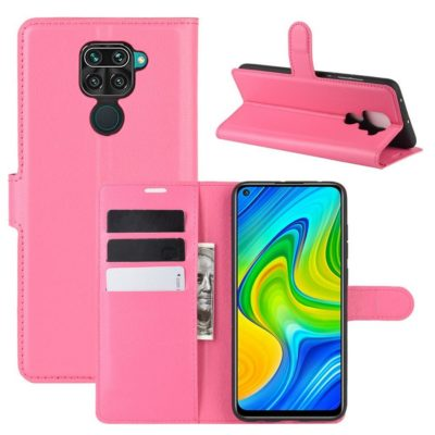 Xiaomi Redmi Note 9 Kotelo PU-Nahka Pinkki
