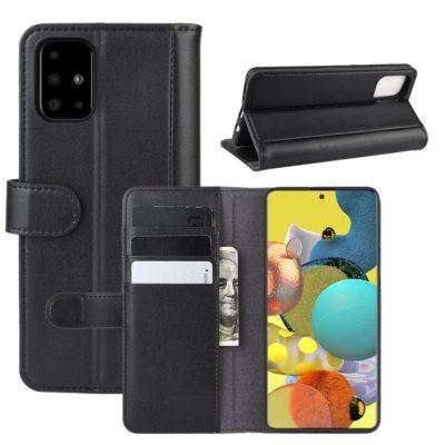 Samsung Galaxy A51 5G Suojakotelo Musta Nahka